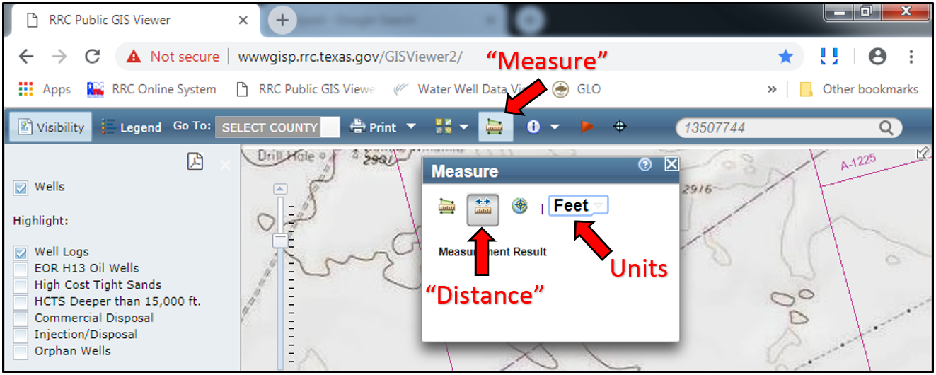 "Distances can be measured with the ""Measure"" tool"