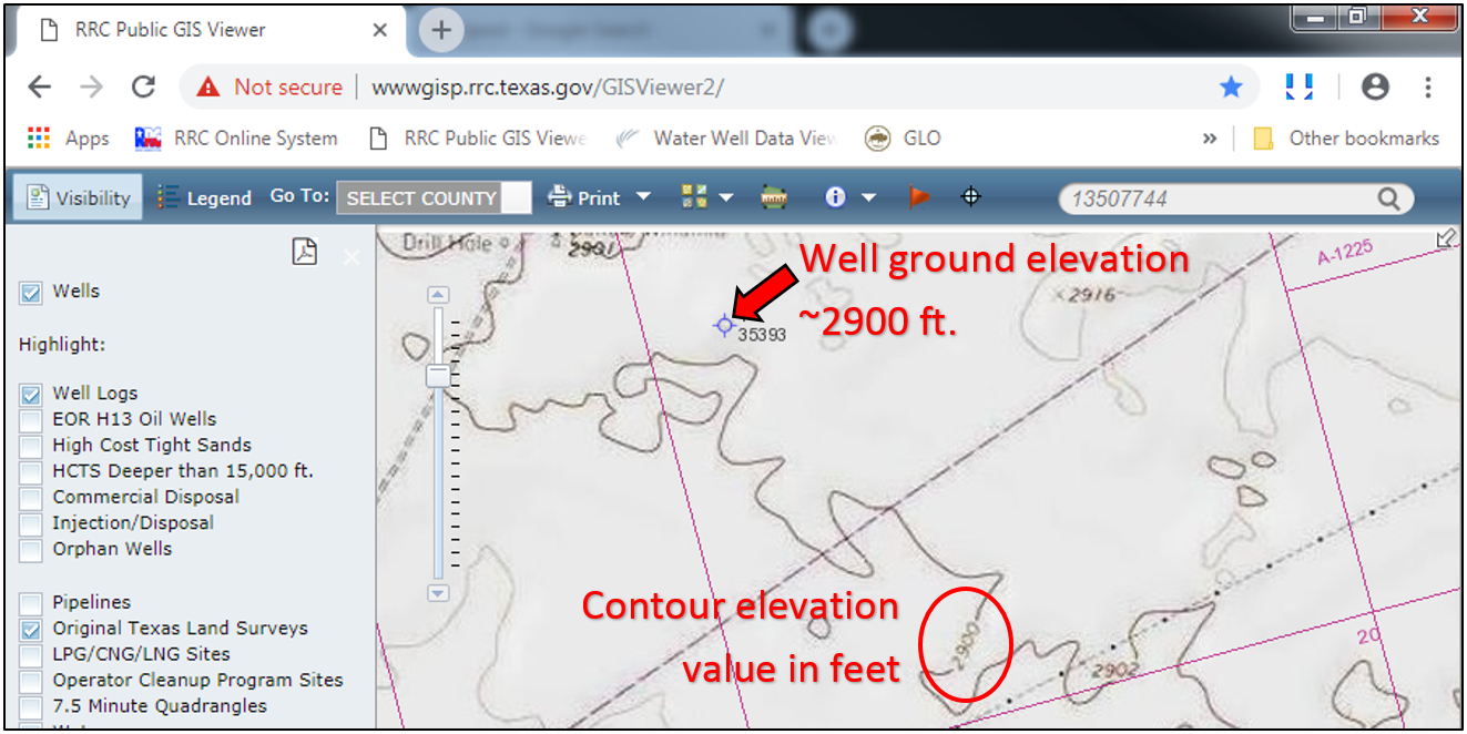 "determine the ground elevation for a well in the RRC Public GIS Viewer by changing the basemap to ""USA Topo Maps"""