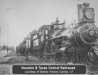 A locomotive of the Houston and Texas Central Railraoad-Barker History Center, UT